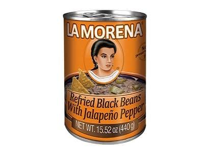 refried black beans with jalapeno pepper la morena 440g